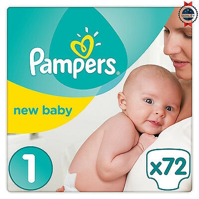 Newborn Baby Pampers size 1 Pack 72 Nappies Premium Protection *Made in UK*