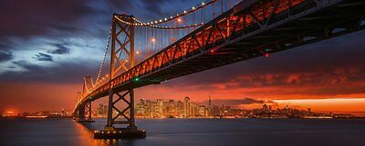 Eurographics - Stampa su vetro, motivo: Fire Over San Francisco, 50 x 125 cm