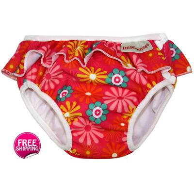 Pink Daisy Swim Nappy with Frill - Range of Sizes for Newborn to Toddler