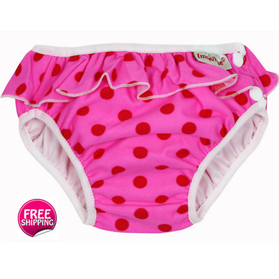 Swim Nappy Pink Dot with Frill - Leakproof Design, Waterproof