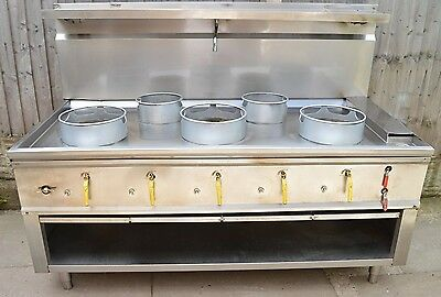 Chinese Wok Cooker Latest Industrial Range 5 Burner Natural Gas FFD Devices