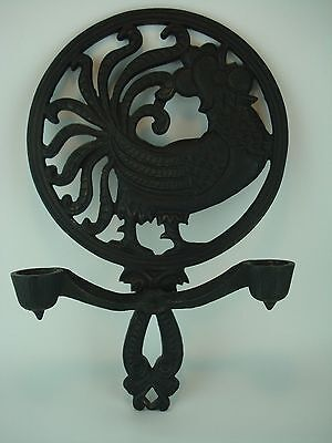 Vintage L H Bird Large Cast Iron Candle Sconce Rooster Cock Chicken Iron Art