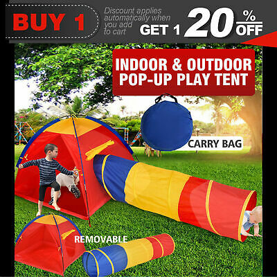 2 in 1 Play Tent Kids Toddlers Tunnel Pop Up Cubby Playhouse Indoor Outdoor Toy