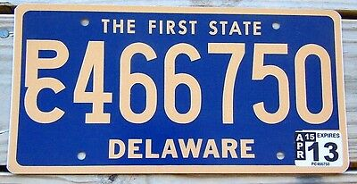 2013 Delaware License Plate Tag Number P/c 4 66 750 Classic De The First State