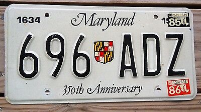 1986 Maryland License Plate Tag Number 696 Adz Classic Md Shield 350 Years 1634