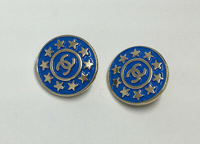 Chanel Blue And Gold Stars buttons - Listing for 2 Buttons