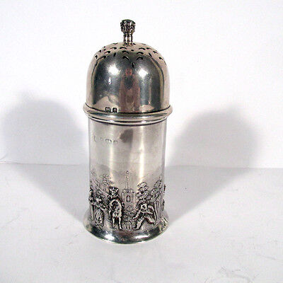 Antique English Sterling Silver Repousse Scenic Muffineer Shaker