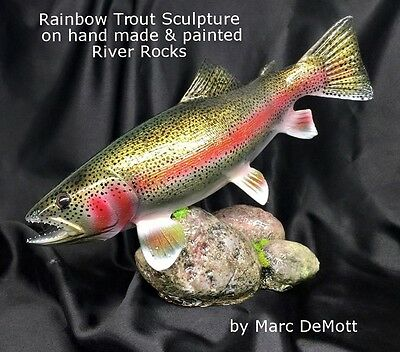 Rainbow Trout Sculpture Carving fly fishing art decoy mount reel look sage color