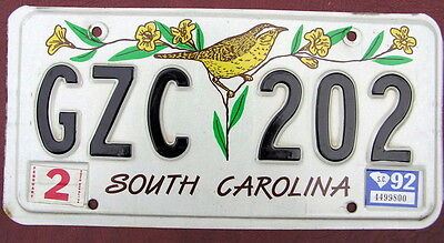 1992 South Carolina License Plate Tag Number Gzc 202 Classic Sc Graphics