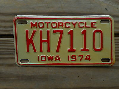 1974 Iowa License Plate Tag Number Kh 7 11 0 Classic Ia Motorcycle Mc Red