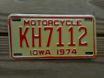 1974 Iowa License Plate Tag Number Kh 7 11 2 Classic Ia Motorcycle Mc Red