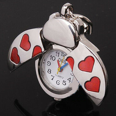 DBS Beetle Red Heart Key Ring Mens Womens Pocket Watch Quartz Montres Gift