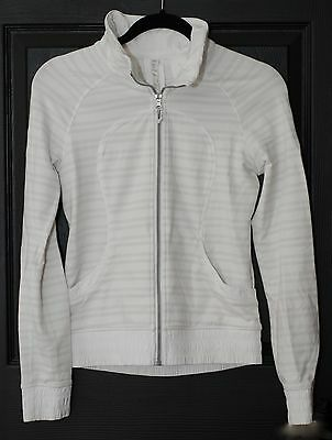 Lululemon White Gray Stripe Zip Up Jacket  Yoga  Size 2