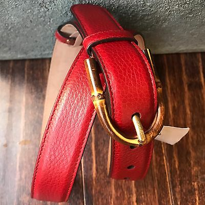 NWT GUCCI Bamboo Buckle Suede Leather Belt Sz 34/85 Men's Women's Unisex