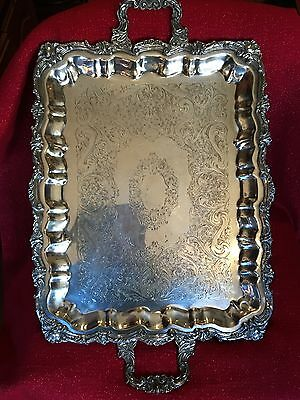 LARGE Antique England Silver Plated Coffee Tea Waiters Tray