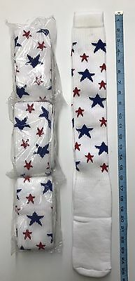 Red White Blue Star Knee High Socks, Patriotic 4th If July