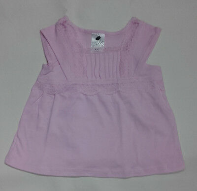 Baby Girls pink cotton top with lace and rouching size 000