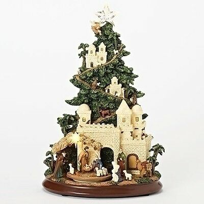 """New Roman Inc Musical 13"""" LED Nativity Tree with Path 130214 FREE SHIPPING"""