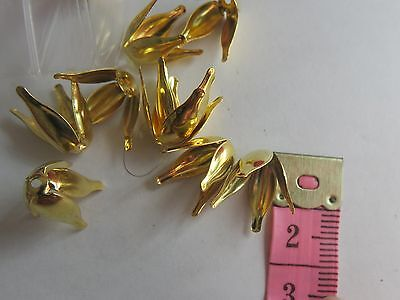 20 pc Gold Plate Tulip Bead Caps Floral approx 15mm x 12mm these are Adjustable