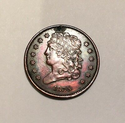 1/2 Cent Half Cent 1835.  XF+ Details  Small Dig On Obv