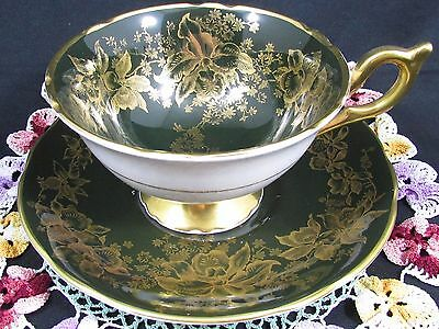 Coalport Gold Gilt Orchid Floral Dark Green Tea Cup And Saucer