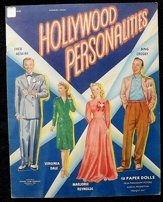 RARE VINTAGE ORIGINAL 1941 HOLLYWOOD PERSONALITIES 10 PAPER DOLLS Samuel Lowe