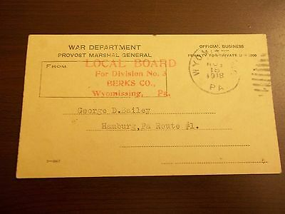War Department Postcard For Division NO.3 Berks County
