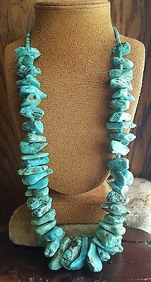 "HUGE 220 Grams Vtg Old Pawn 1960's Navajo Turquoise Nugget & Heishi 27"" NECKLACE"