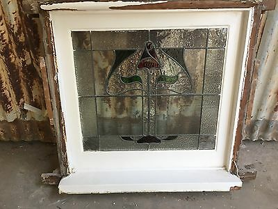 Timber Fixed Lead light Window 860w X830h Leadlight Antique Federation Victorian