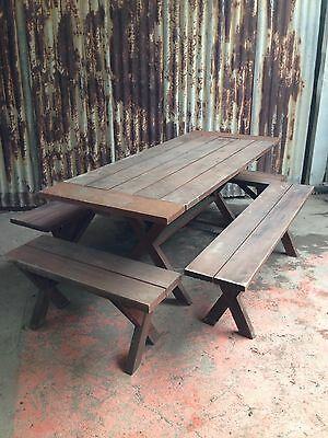 Timber Extendable Outdoor Picnic Table With 4 Bench Seats - Dimensions In Photos