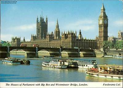 The Houses of Parlamet with Big Ben and Westminster Bridge, London Mehrbildkarte
