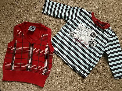 Baby Boy Toddler Pumpkin Patch Knitted Vest & Long Sleeve Top Size 6 - 12 Months