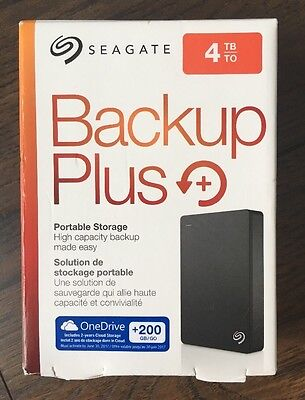 BRAND NEW Seagate Backup Plus Slim 4TB External Drive STDR4000100 Storage Mac/PC