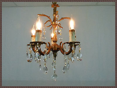 Vintage European Brass Chandelier Petite Light Fixture Amazing Crystals Gorgeous