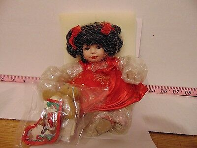 Marie Osmond Baby Annette Holiday Tiny Tot Doll NIB COA Necklace Tag