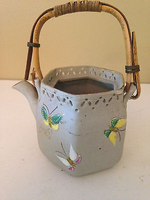 Japanese Meiji Banko Miniature Teapot SIGNED Butterfly Antique Early Example