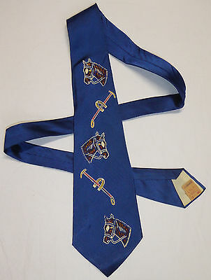 Vintage 1940's S.S. Kresge Co Neck Tie Hand Painted Blue Horses Polo Mallets NWT