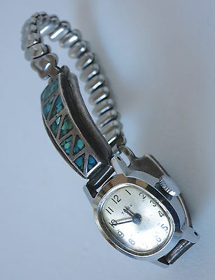 Vintage TIMEX WATCH TIPS ZUNI Turquoise InlaySterling Silver