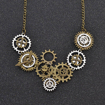 Vintage Gear Clock Pendant Necklace Jewelry Steampunk Gothic Adjustable Chain