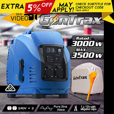 NEW GenTrax Rated 3.0kVA Max 3.5KW Pure Sine Inverter Generator Portable Petrol
