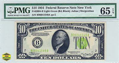 1934 $10 NY Federal Reserve Note Light Green Seal PMG 65 EPQ Gem Unc LGS FRN