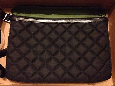 Knomo quilted laptop tote bag, top handle and shoulder strap black 10x15
