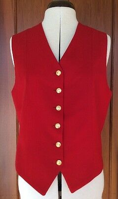 Horse Riding Vest- Red With Gold Buttons.  Size14