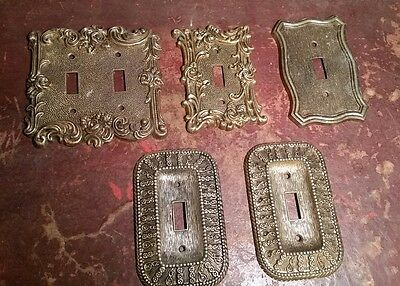 Vintage 1967-68 American Tack & Hardware Brass Light Switch Covers Ornate