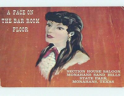 Unused Pre-1980 FACE ON THE BARROOM FLOOR Monahans Texas TX hk5547