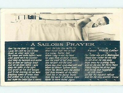 1942 rppc US NAVY SAILOR SLEEPING IN HAMMOCK Sent From Great Lakes IL HM2560