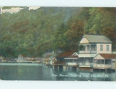 Damaged Divided-Back BOAT HOUSES ON LAKE Pottsville Pennsylvania PA HM7392