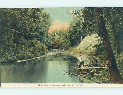 Unused Divided-Back PARK SCENE Kansas City Missouri MO hk8967