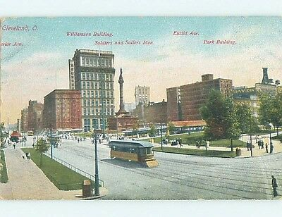 Divided-Back STREETCAR BY BUILDINGS ON EUCLID AVENUE Cleveland Ohio OH HM7814