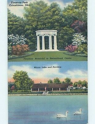 Unused Linen PARK SCENE Columbiana Ohio OH hk6273